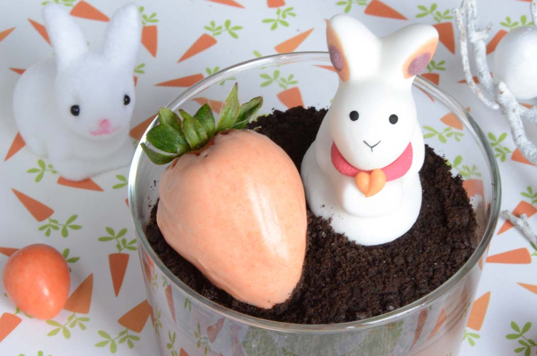 Crèmes au chocolat et fraises en coque de chocolat