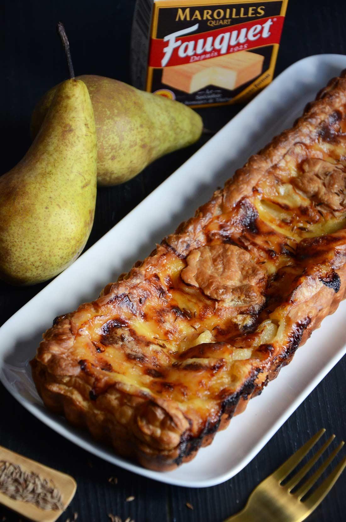 tarte aux poires et maroilles maison