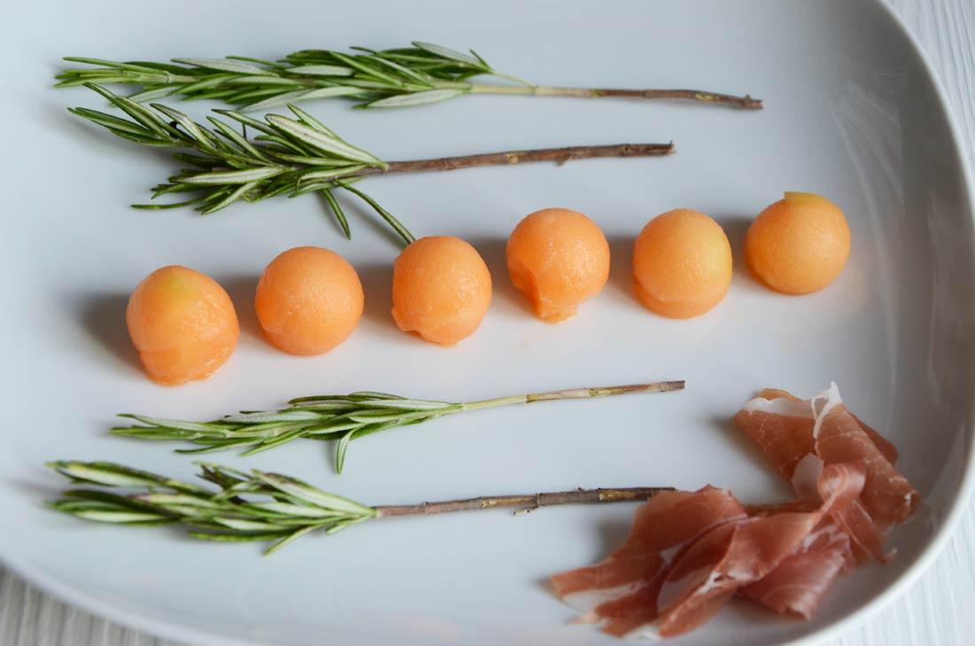ingrédients Brochettes melon jambon romarin