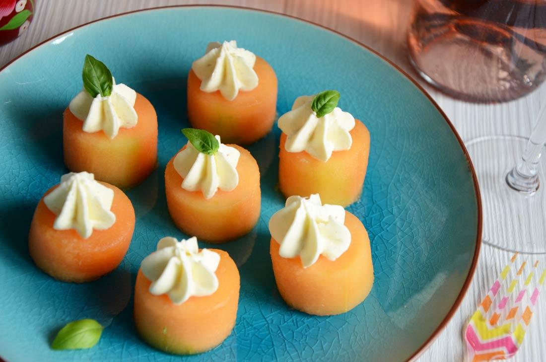 melon fromage frais basilic maison