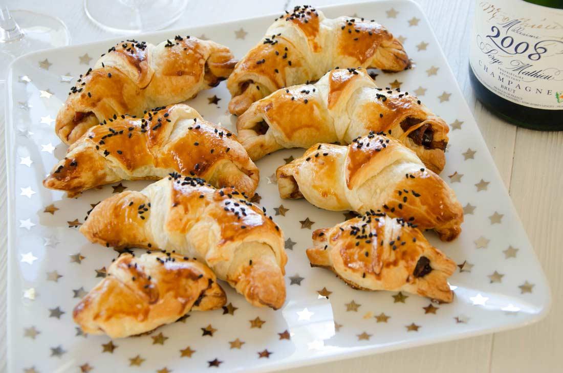 Mini croissants pruneaux jambon de Parme