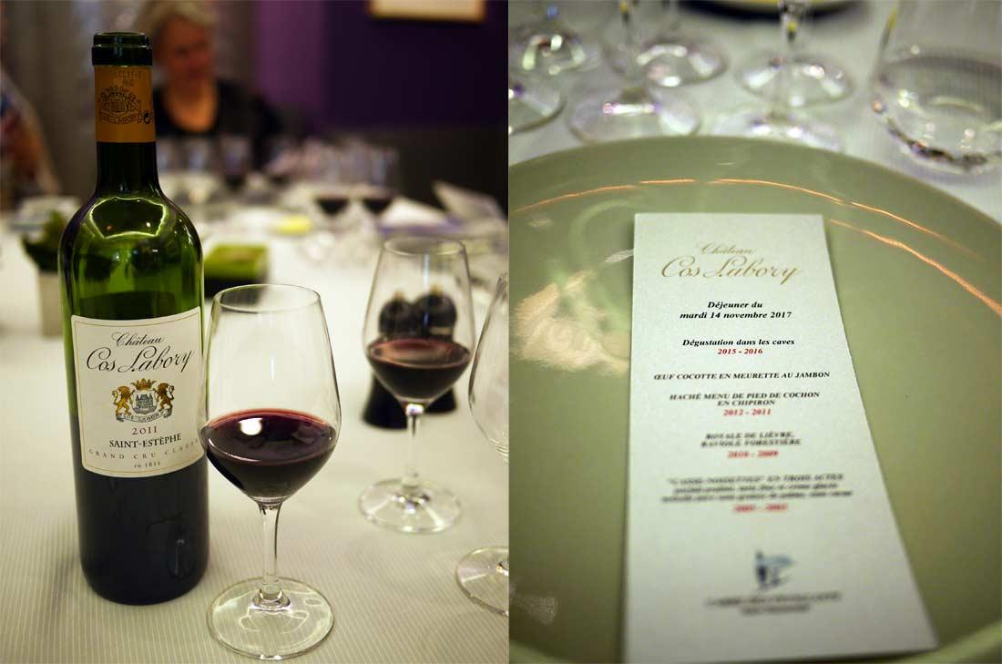 Déjeuner autour des vins Château Cos Labory au Carré des Feuillants