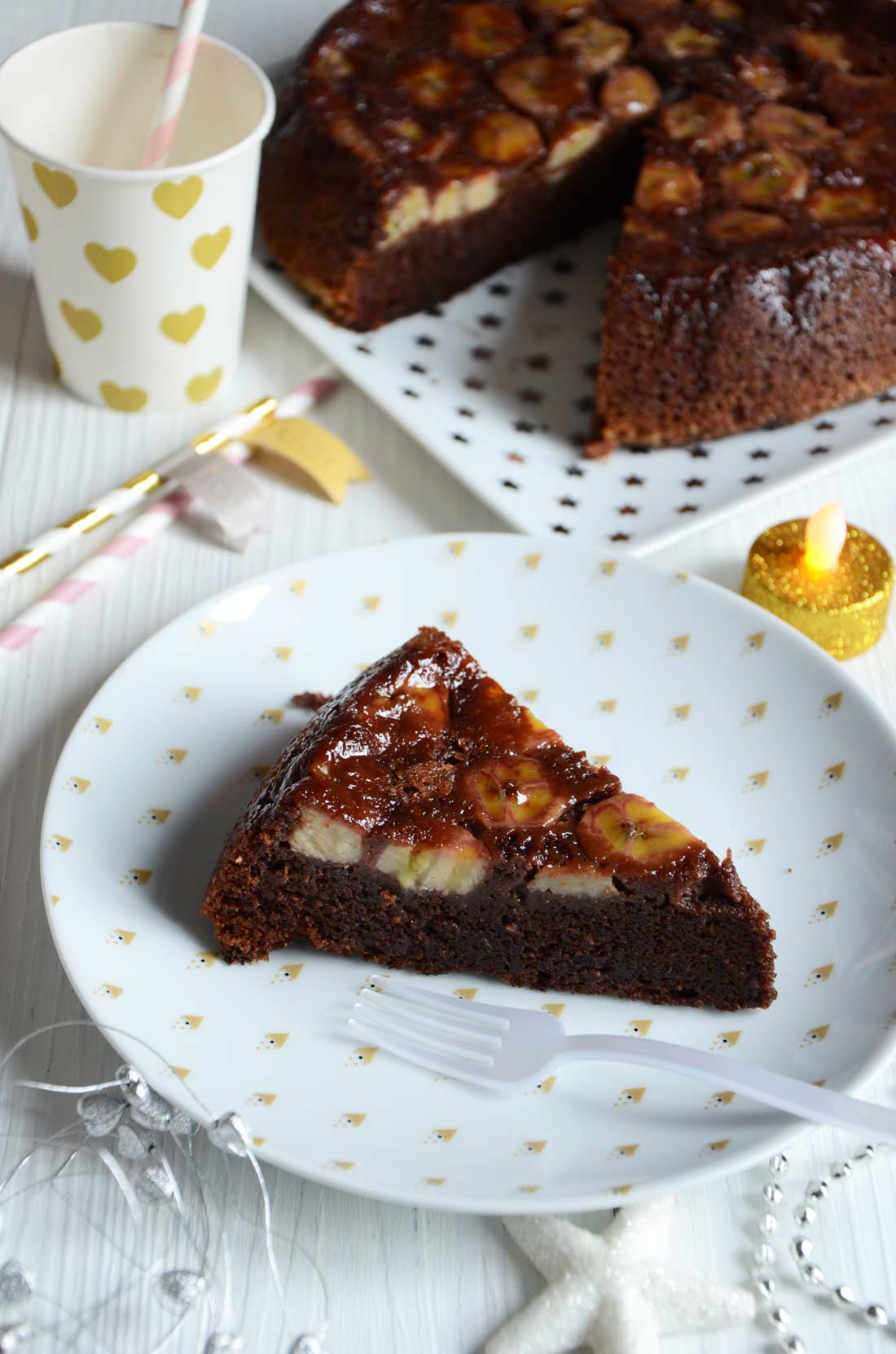 Gâteau renversé banane chocolat maison