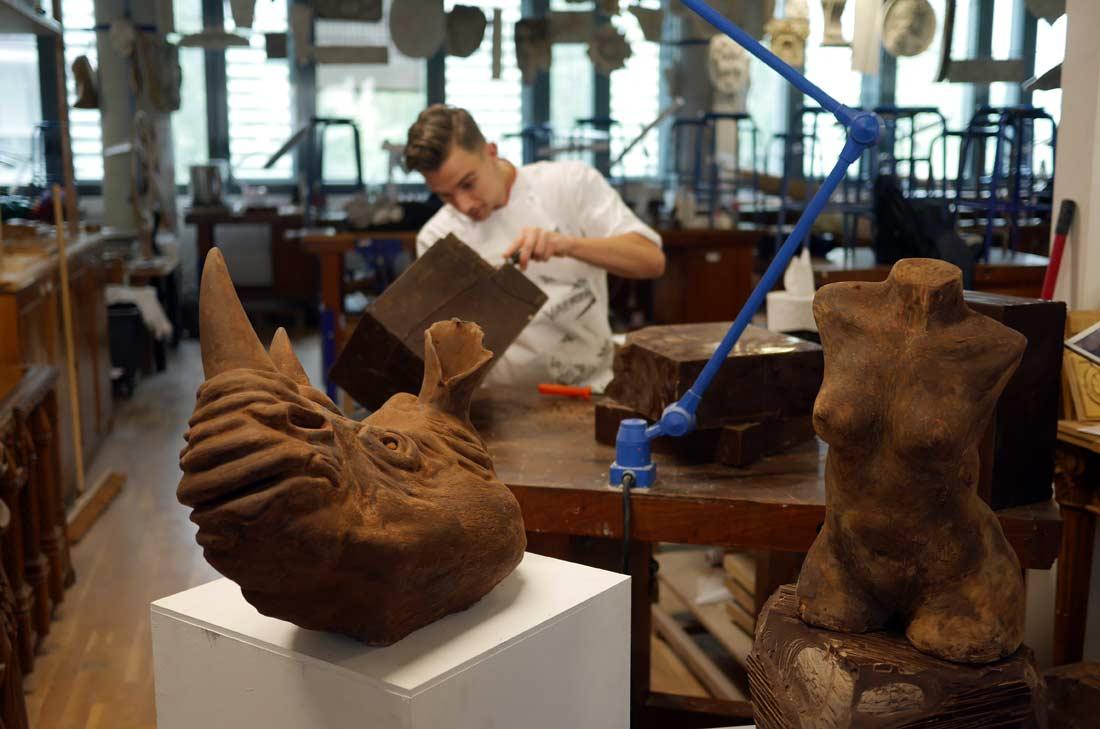 Sculptures en chocolat École Valrhona X École Boulle