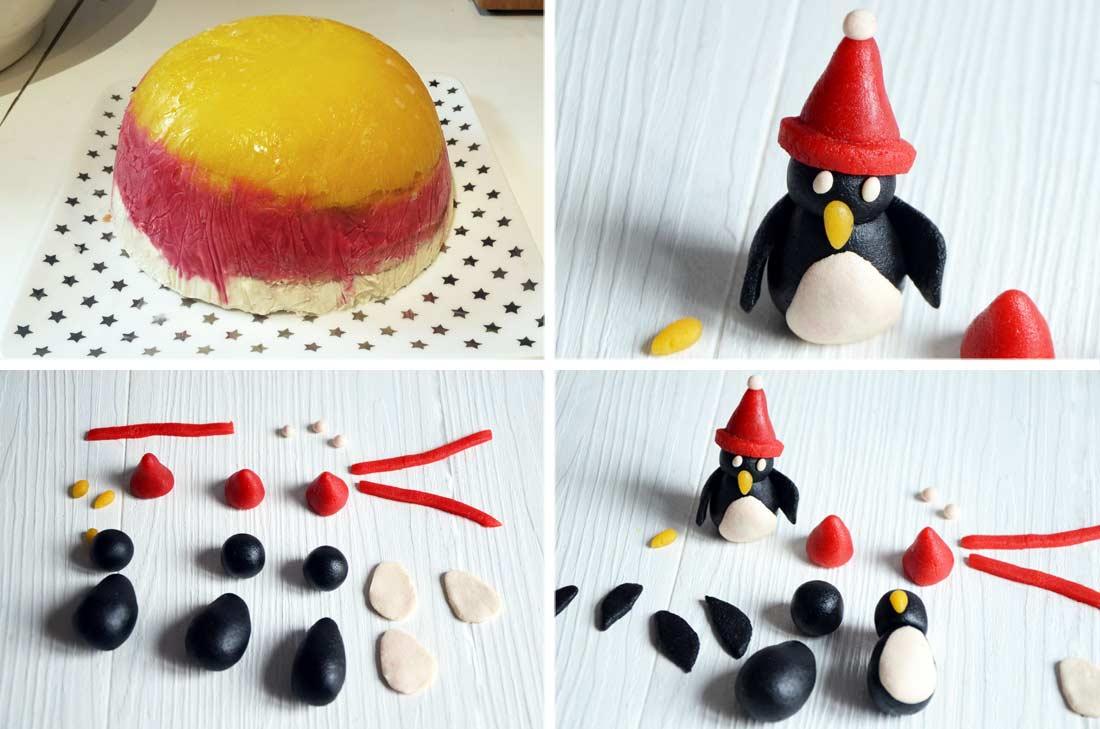 pas à pas pour réaliser des penguins en pâte d'amande