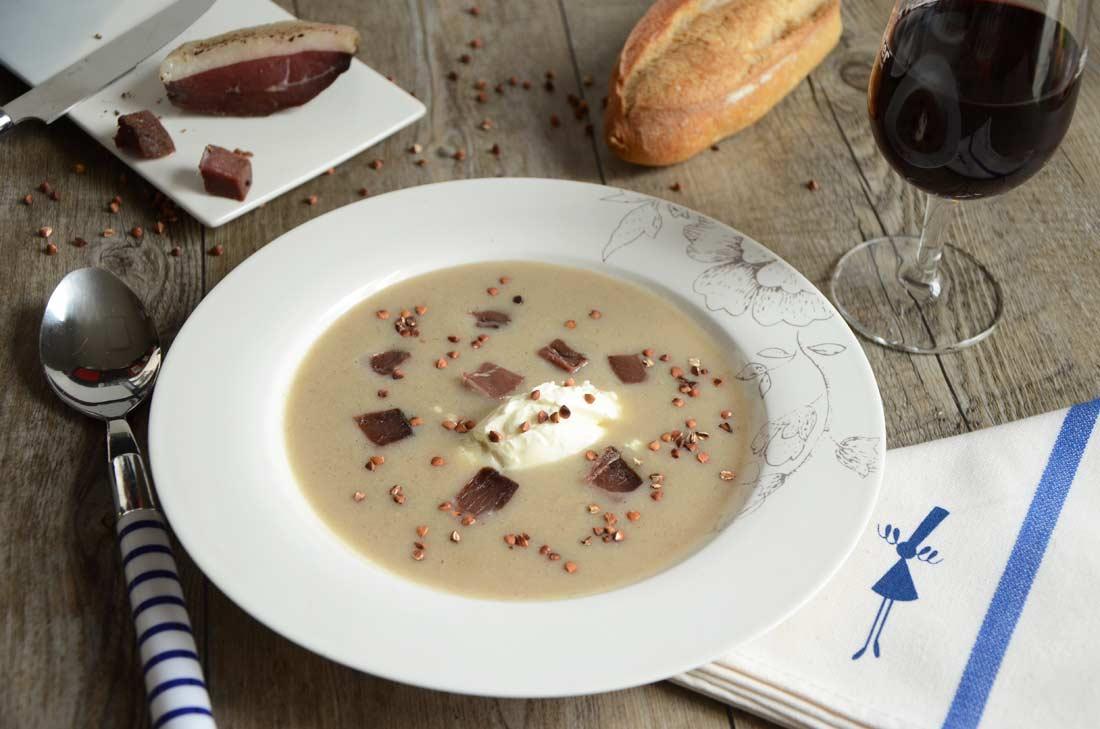 soupe de sarrasin et magret séché