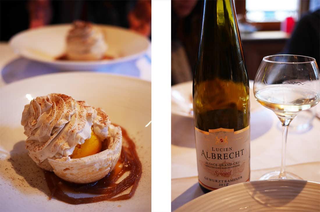 Vin Lucien Albrecht et dessert à Kayserberg