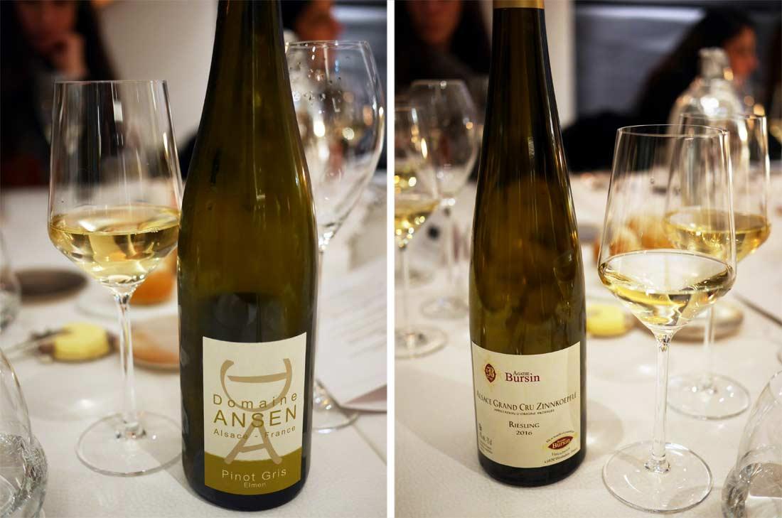 vins servis lors du diner à l'atelier du peintre à Colmar