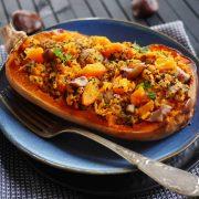 Courges butternut marrons et quinoa