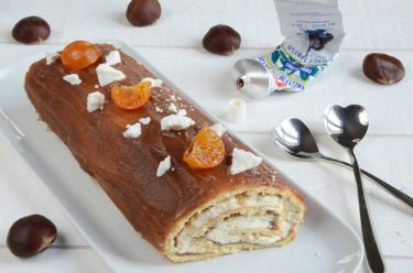 Gâteau roulé à la crème de marrons et clémentines confites