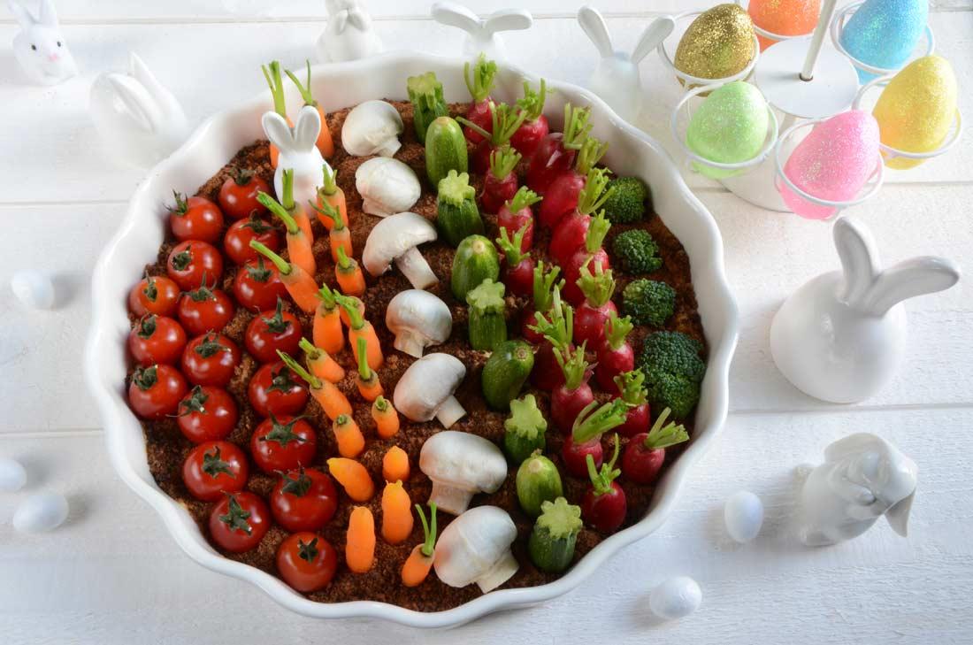 Le potager de Pâques (houmous et légumes à croquer pour l'apéritif)