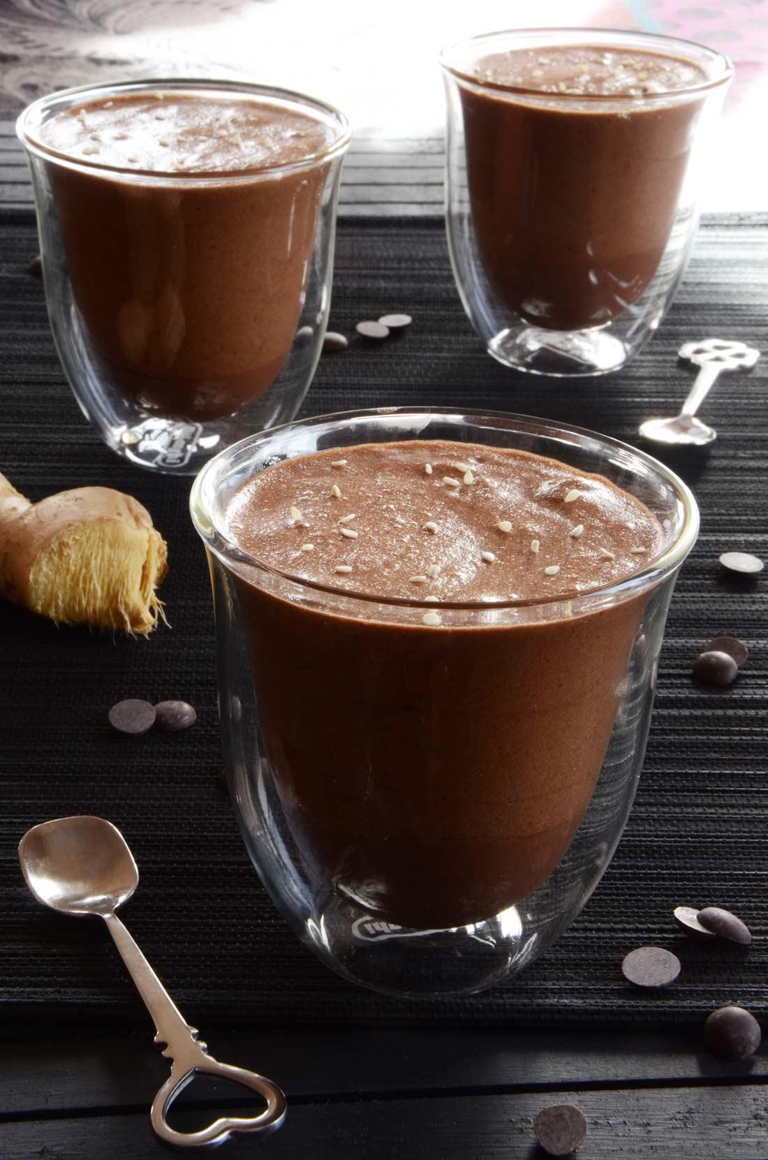 mousse chocolat gingembre en deux textures