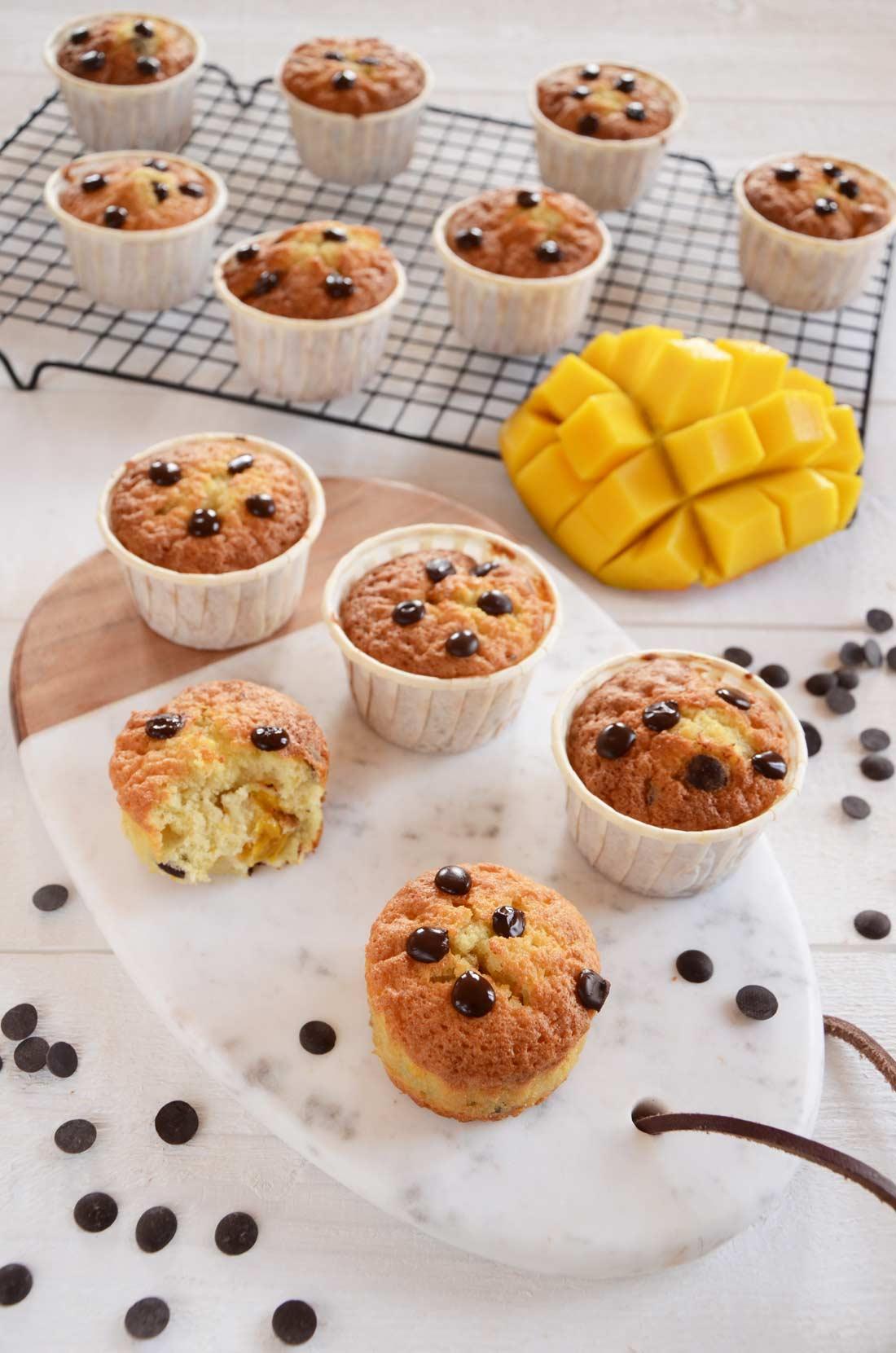 Recette de muffins mangue pépites de chocolat fait maison