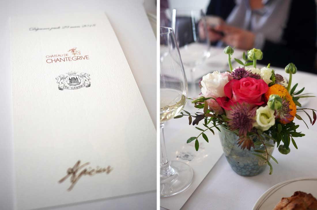 Les vins Château Chantegrive et Château Cos Labory nous ont été servis au cours d'un déjeuner chez Apicius