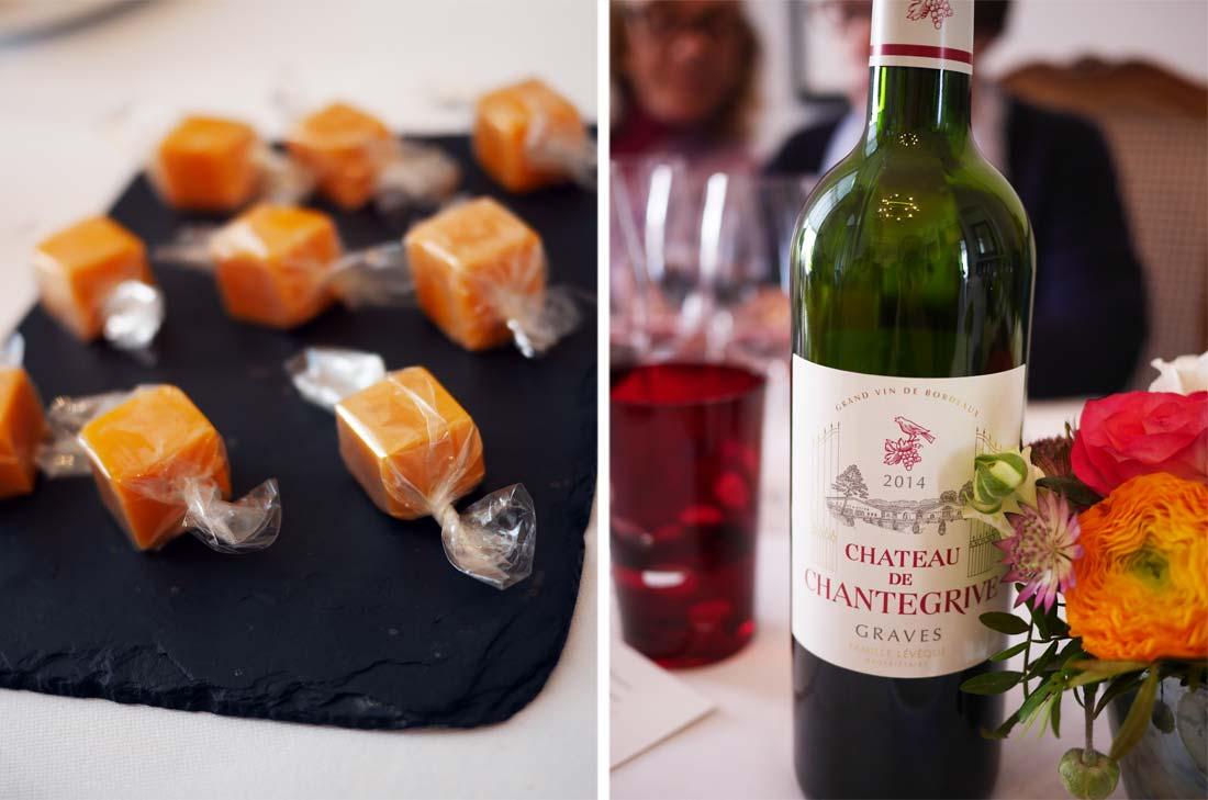 Un joli accord : les Bonbons de mimolette et le Château Chantegrive cuvée 2014