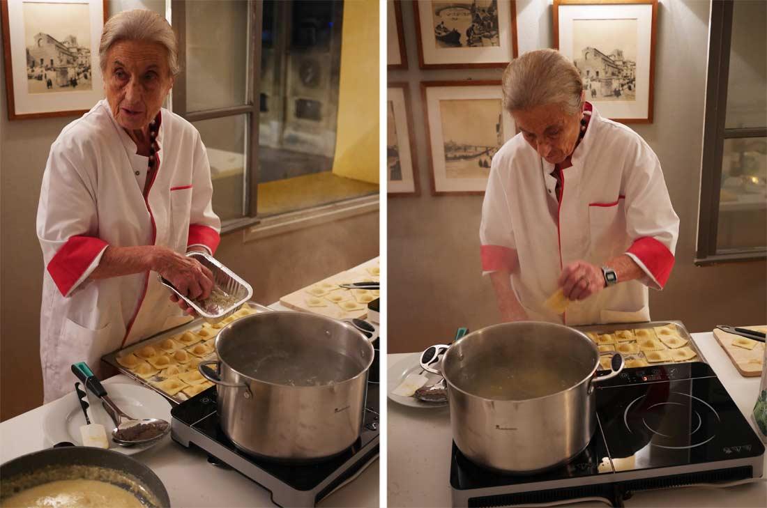 l'étape de cuisson des pâtes