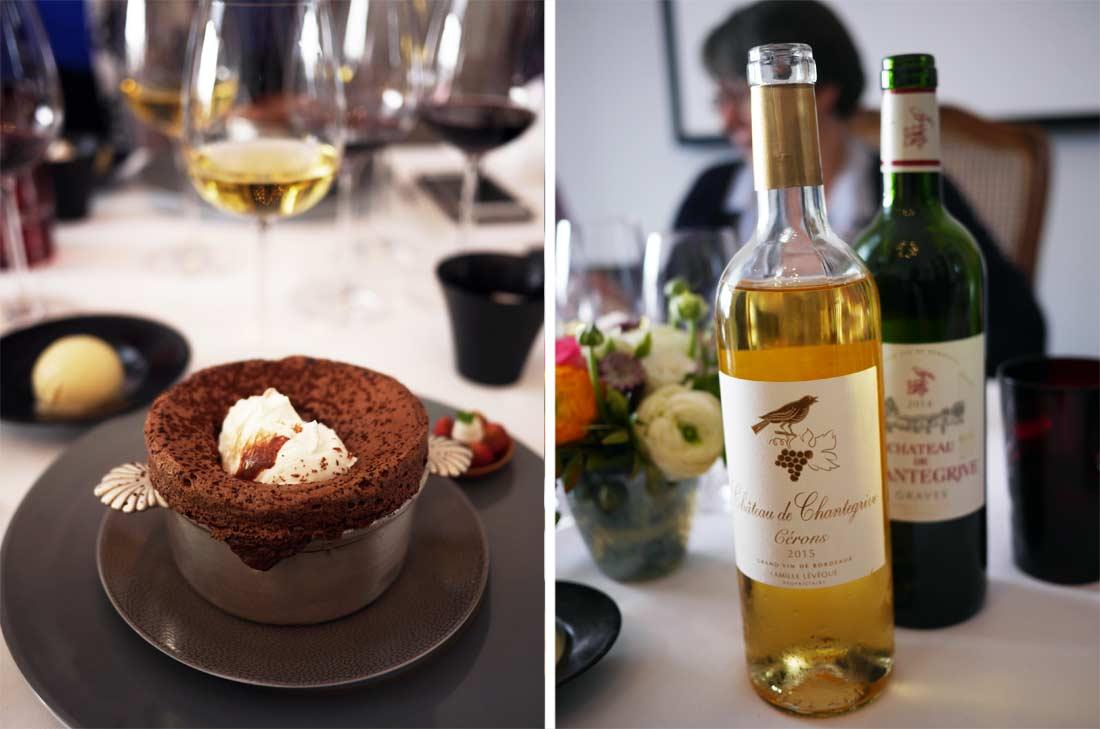 Le soufflé au chocolat guanaja et le Château Chantegrive Cérons