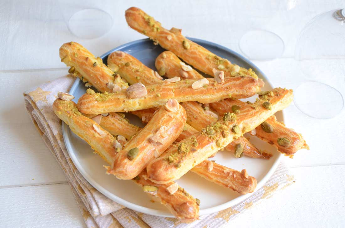 Gressins pâte à choux aux fruits secs