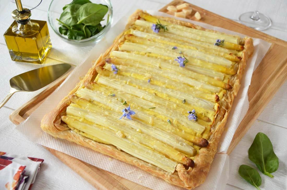 Tarte feuilletée asperges ricotta parmesan