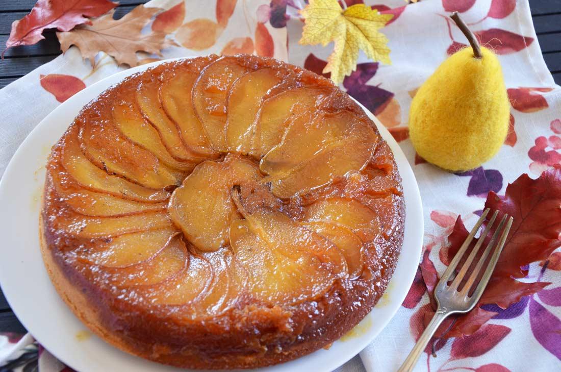 gâteau renversé poires et vanille maison