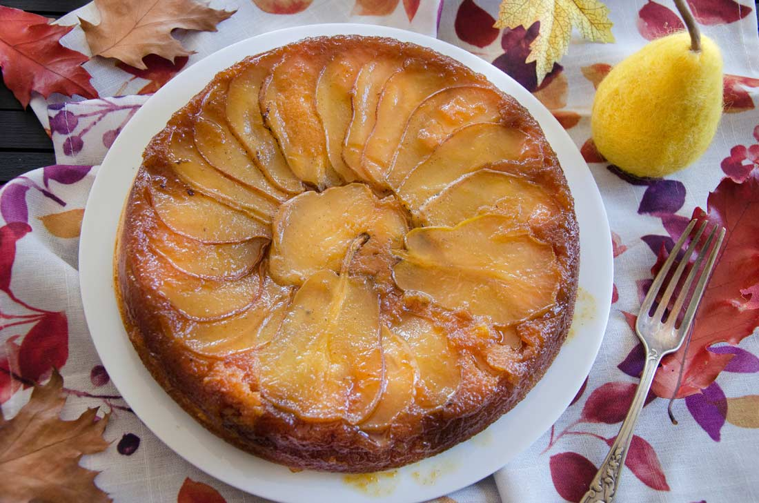 recette de gâteau renversé poires et vanille
