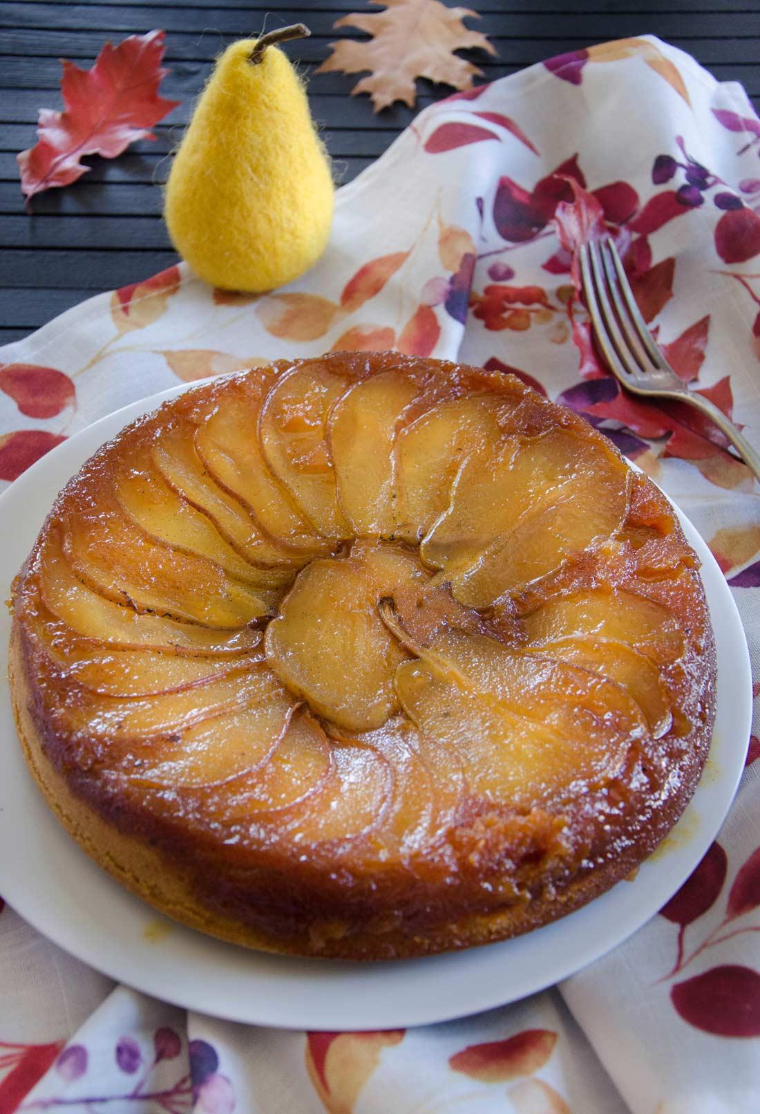gâteau renversé poires et vanille fait maison