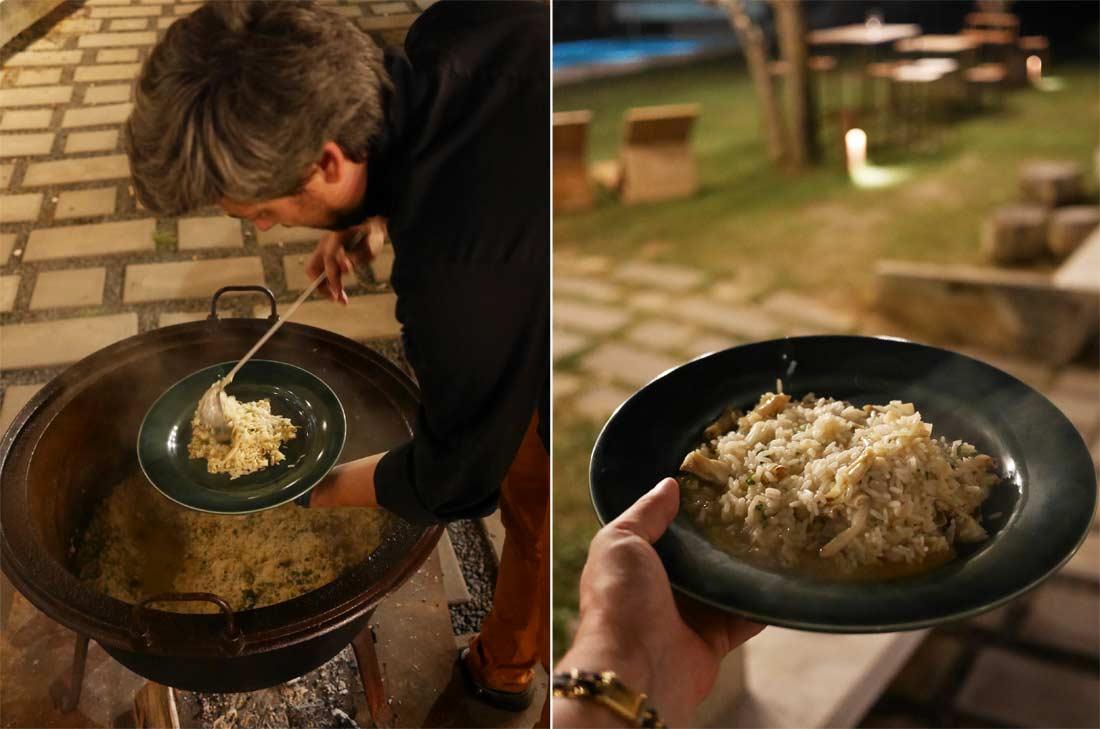 Razor clam rice on the fire