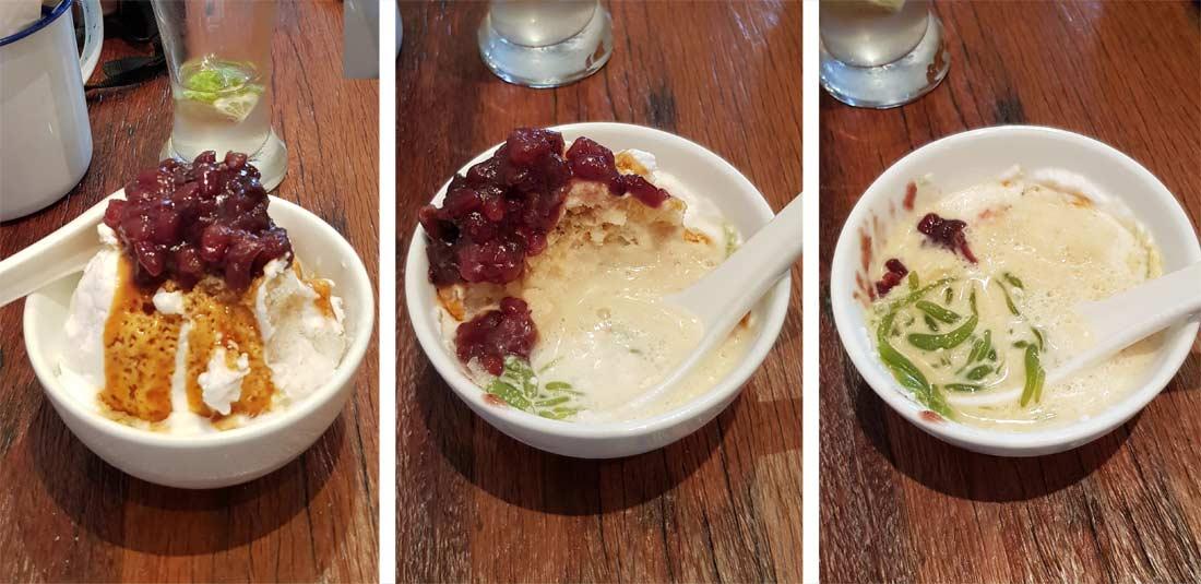Fameux dessert cendol au restaurant Le Coconut Club à Singapour