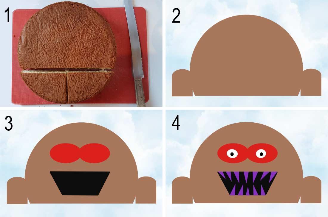 pas à pas en photos pour la réalisation du gâteau monstre d'Halloween