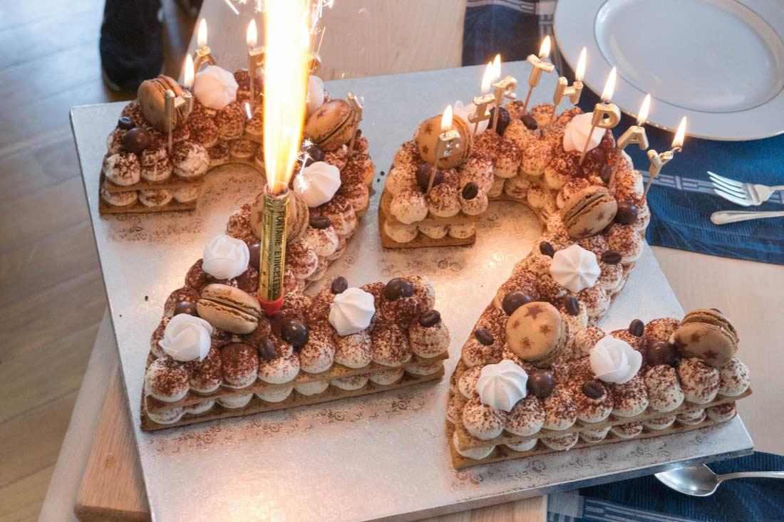 number cake tiramisu pour un anniversaire