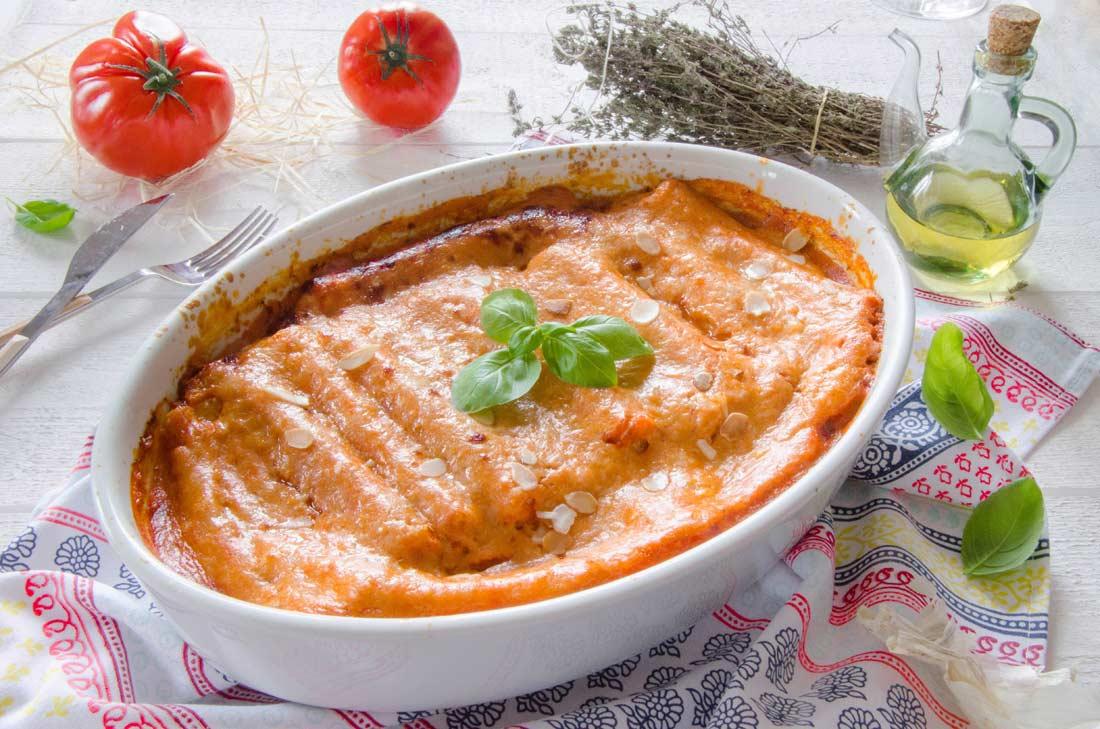 plat de cannellonis fromage brousse et coulis de tomate