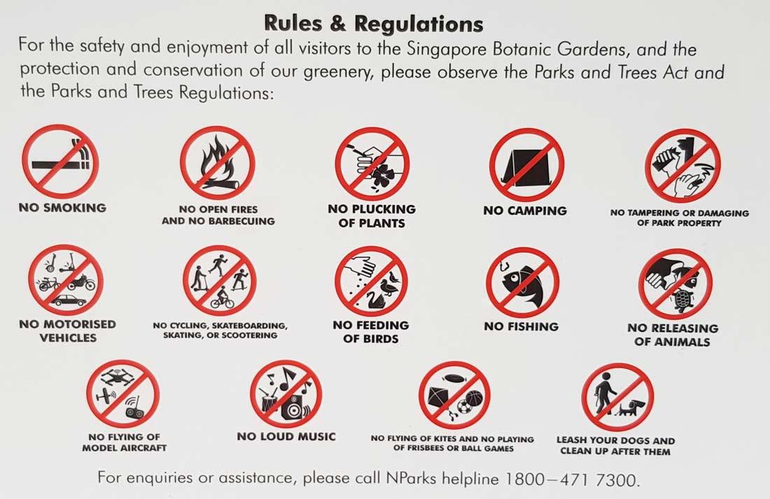 rules and regulations du Jardin Botanique de Sinapour