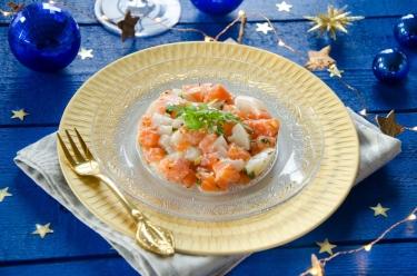 Tartare de saint-jacques saumon gingembre