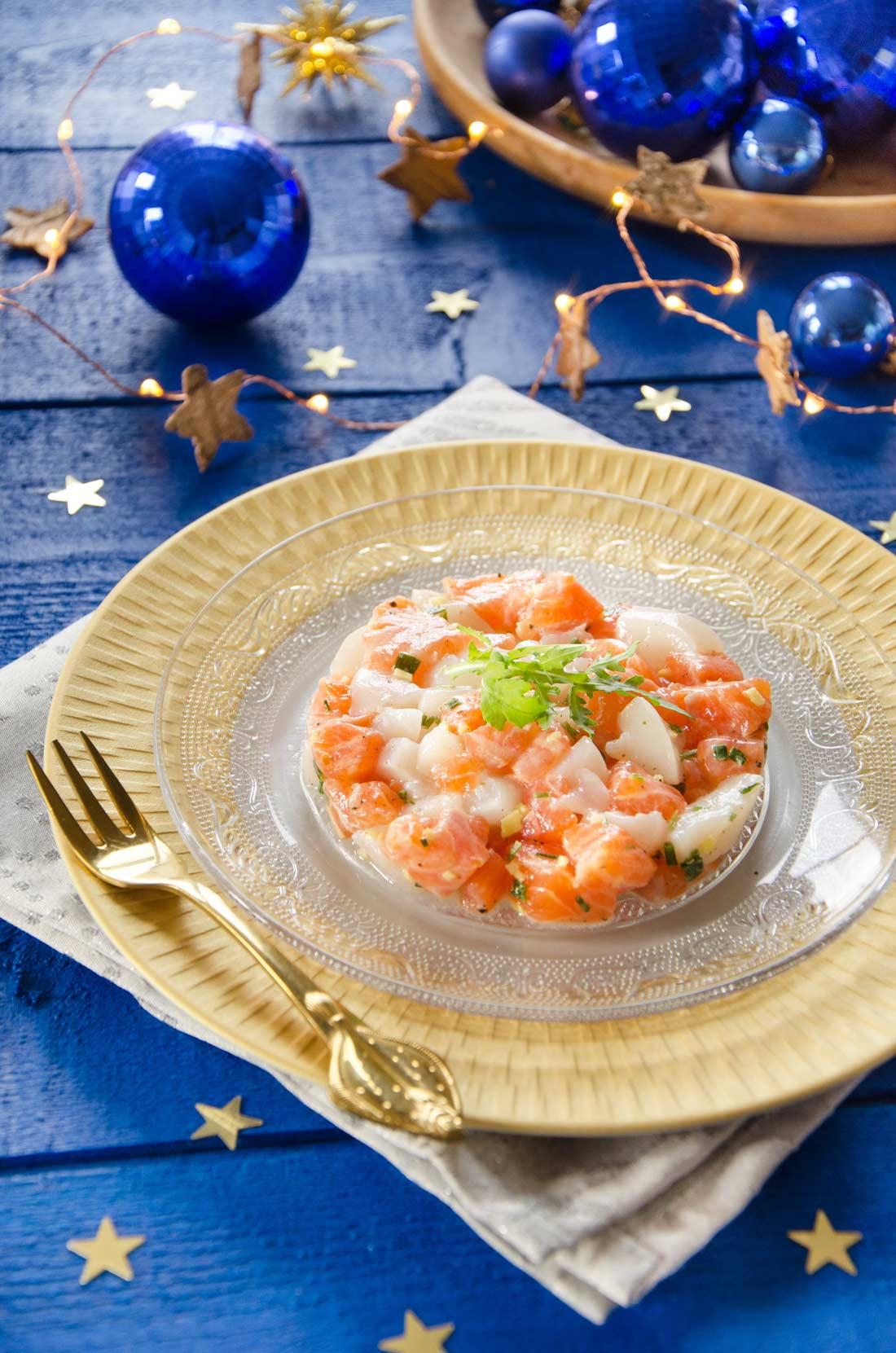 Tartare de st Jacques et saumon au gingembre