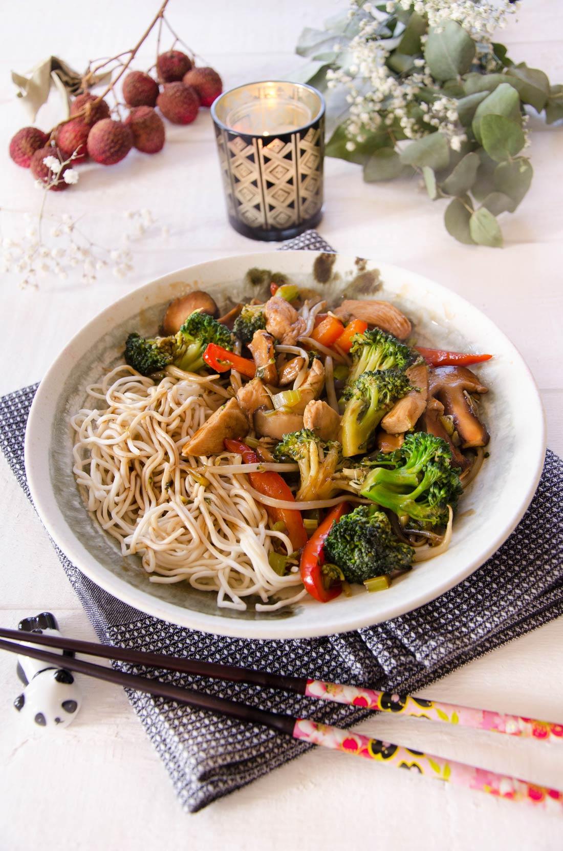 Recette de nouilles sautées au poulet, des chow mein