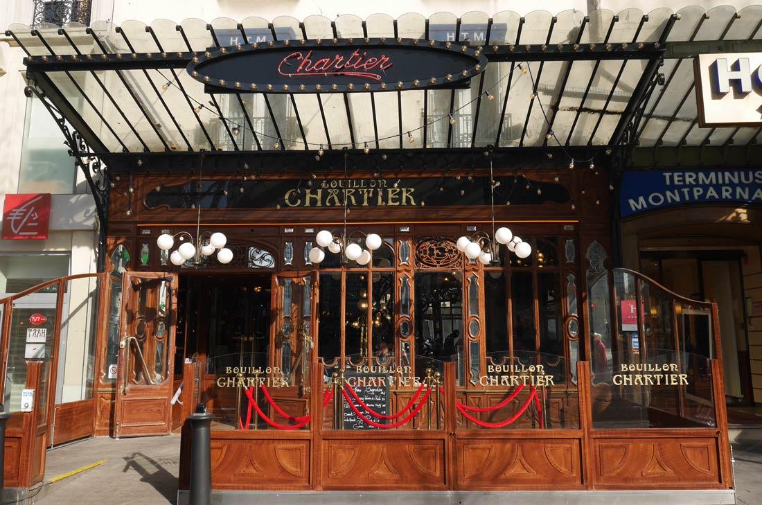 Façade du restaurant Bouillon Chartier à Montparnasse