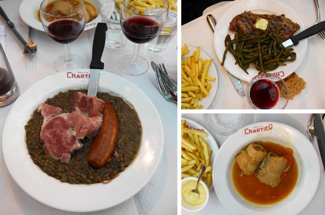 Plats du restaurant Bouillon Chartier.