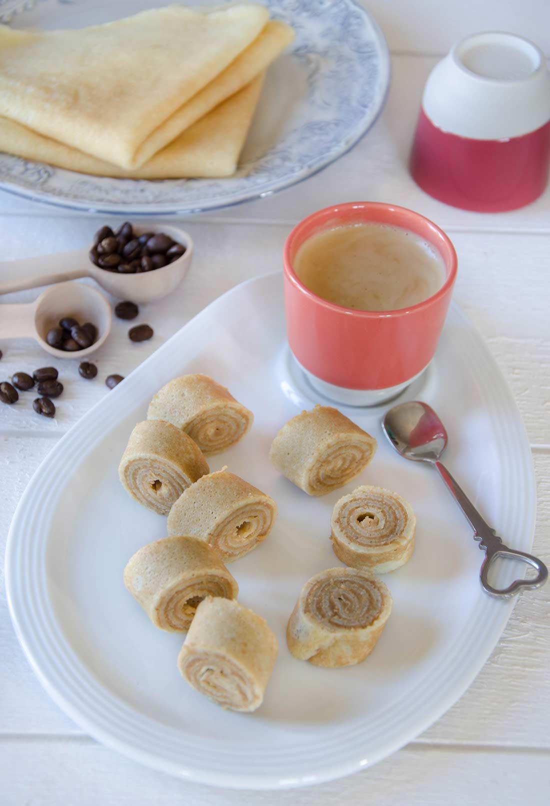 Roulés de crêpes au café, fait maison