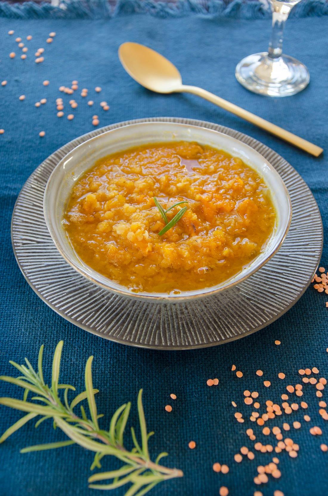 Soupe butternut lentilles corail