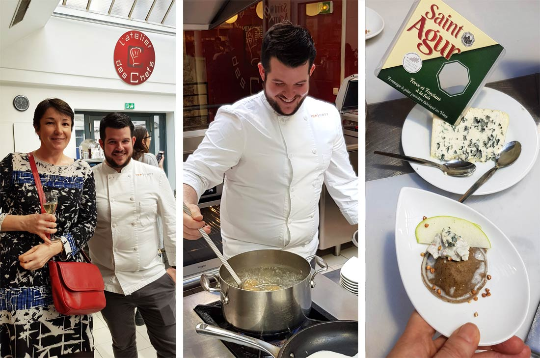 Guillaume Pape, candidat Top Chef 2019 lors d'un atelier pour le fromage Saint Agur.