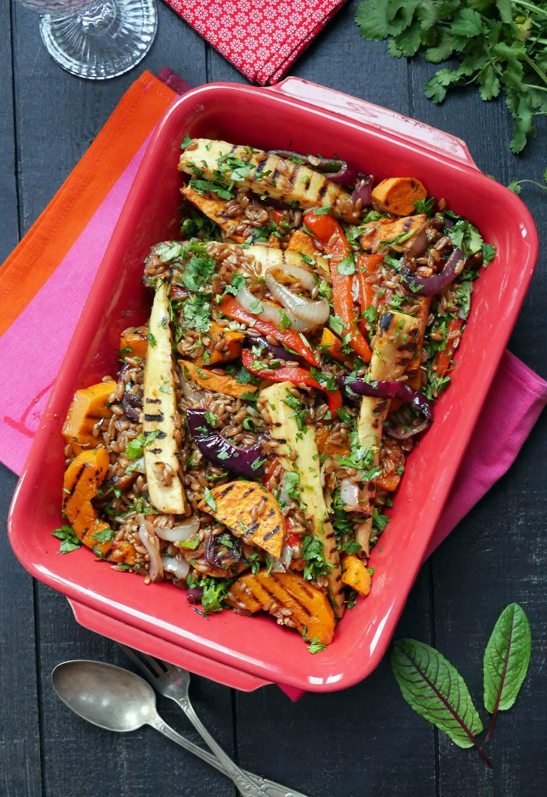 Salade épeautre et légumes grillés