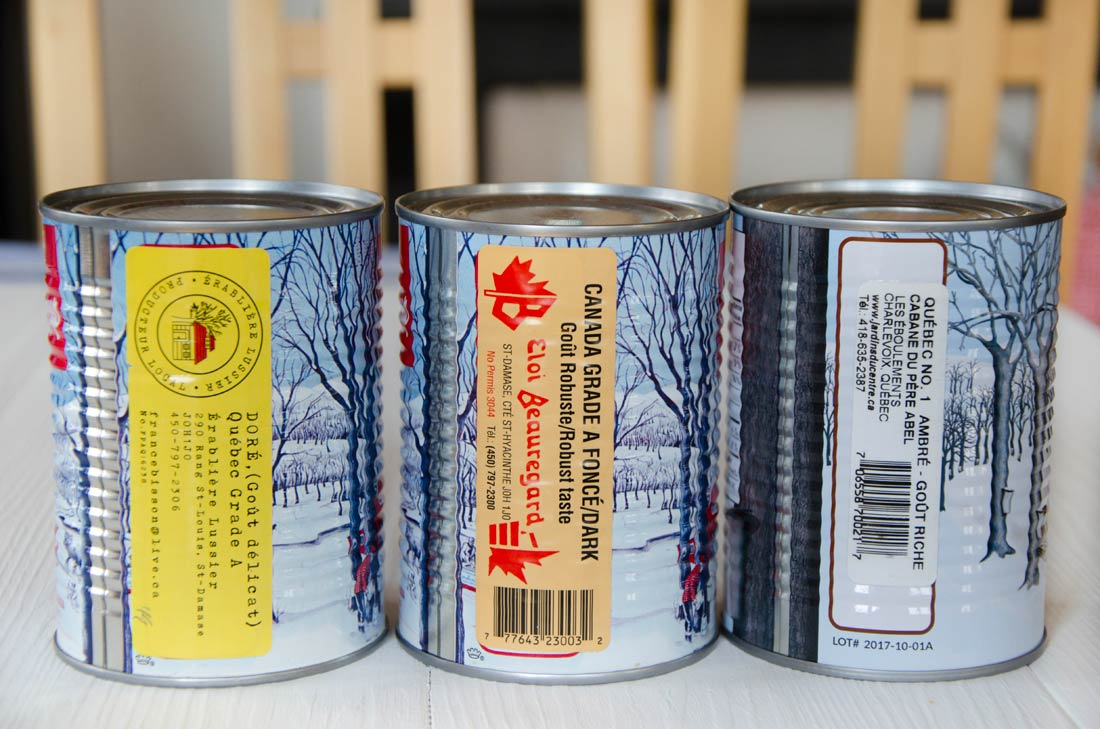 Étiquettes sirop d'érable du Québec