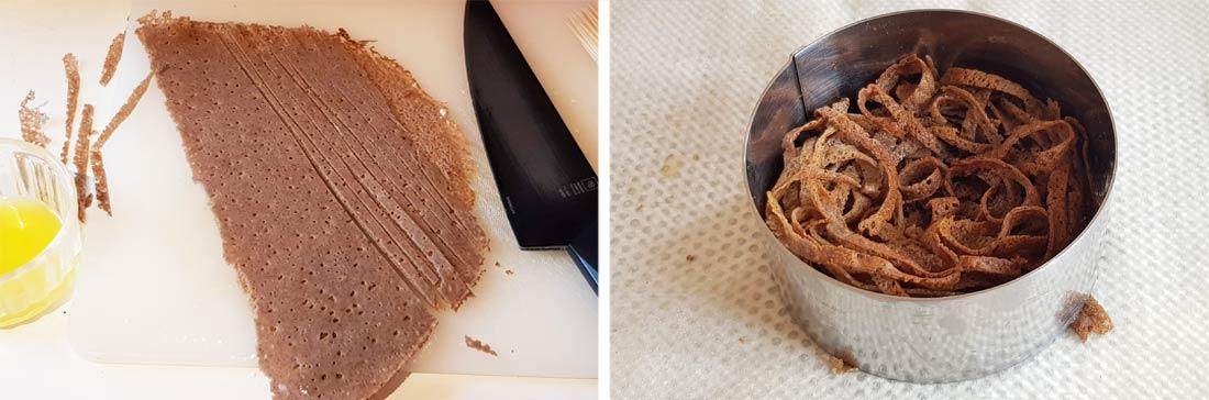 Pas à pas nid croustillant en lamelles de galettes de sarrasin