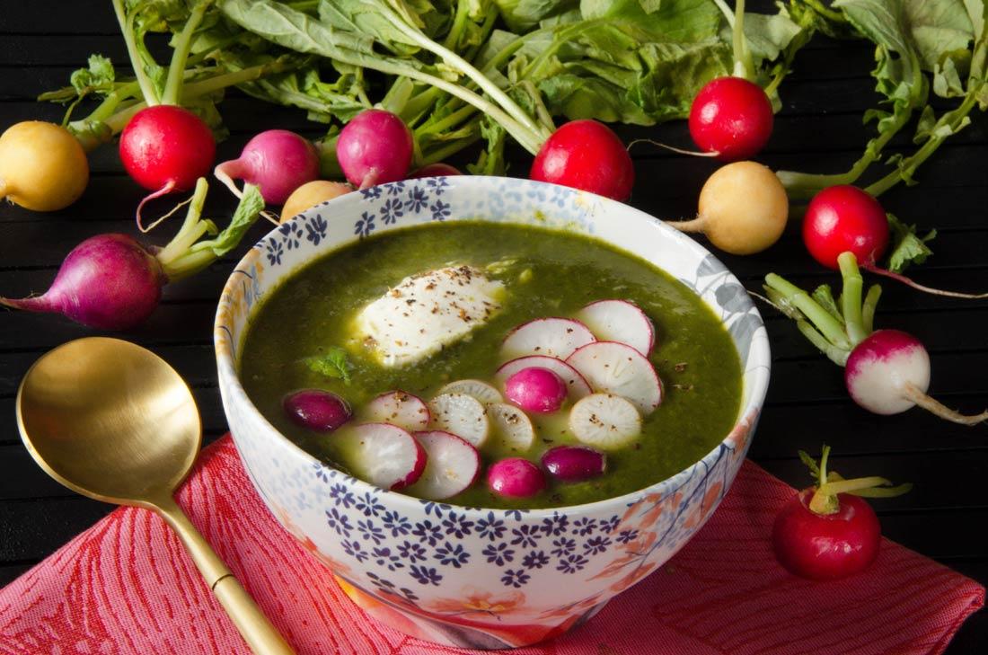 Soupe froide cresson et fanes de radis