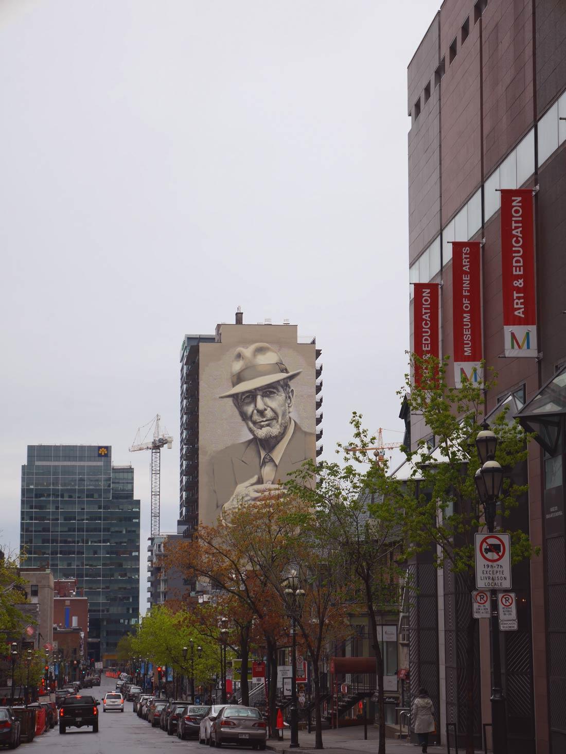 Street Art : Leonard Cohen sur Crescent Street