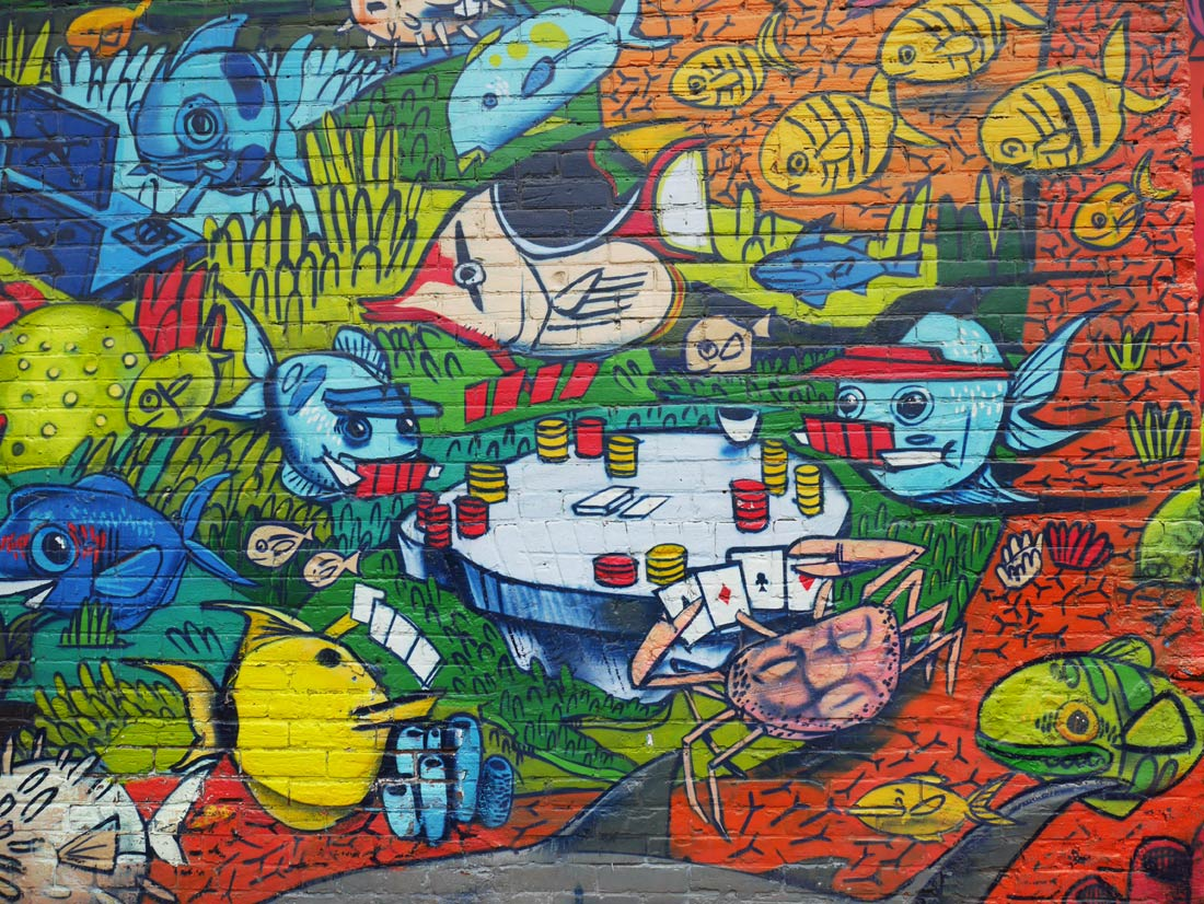 Fish mural in Graffiti Alley, Toronto