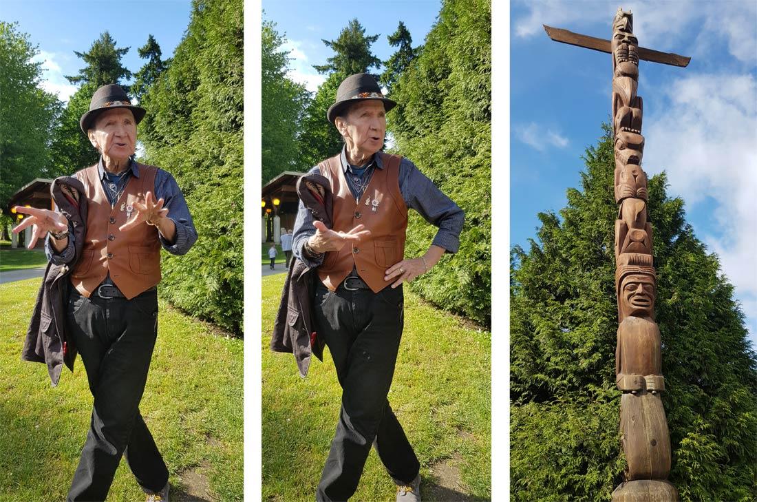 Robert Yelton et son totem à Stanley Park