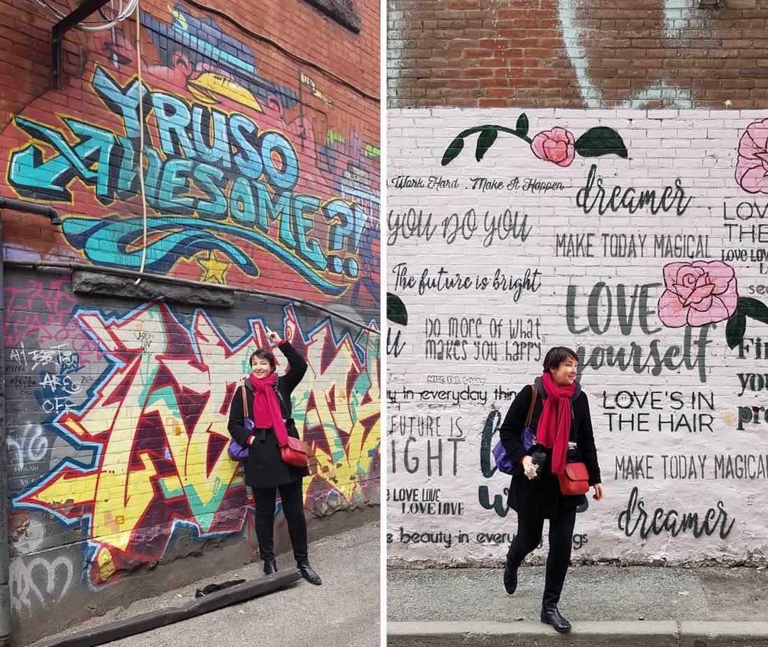 Sophie Turbigo dans Graffiti Alley à Toronto