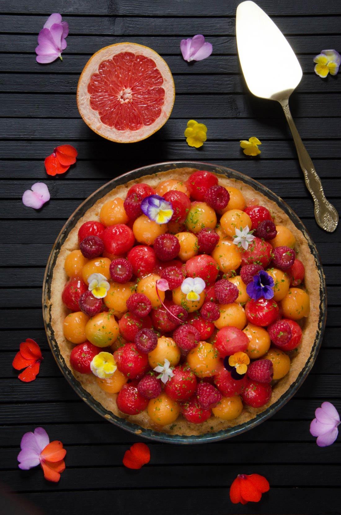 Tarte maison melon pastèque et gelée de pomelo