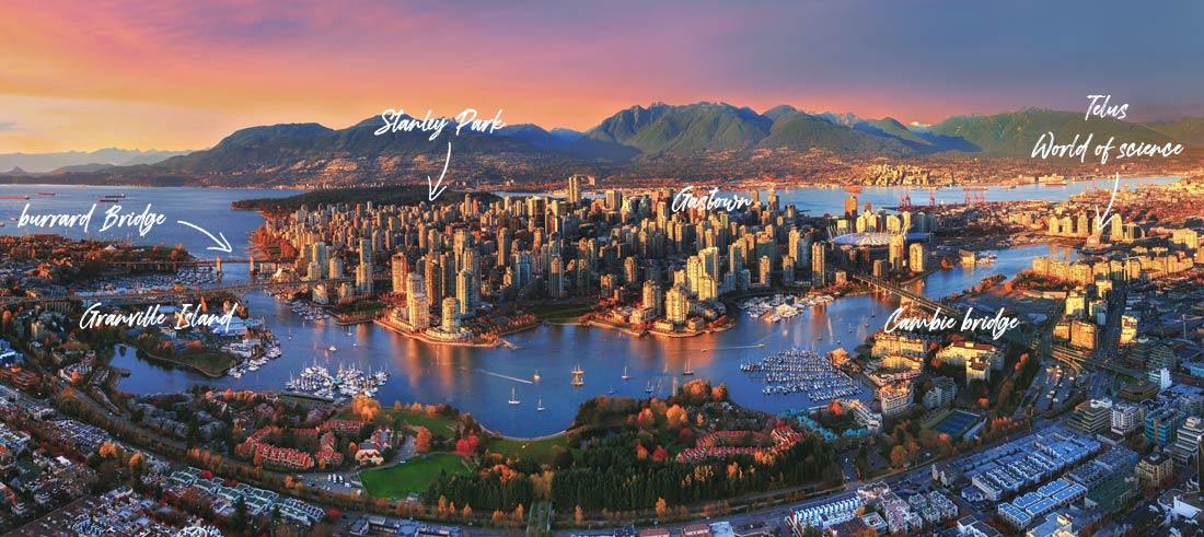 Vue aérienne de la ville de Vancouver